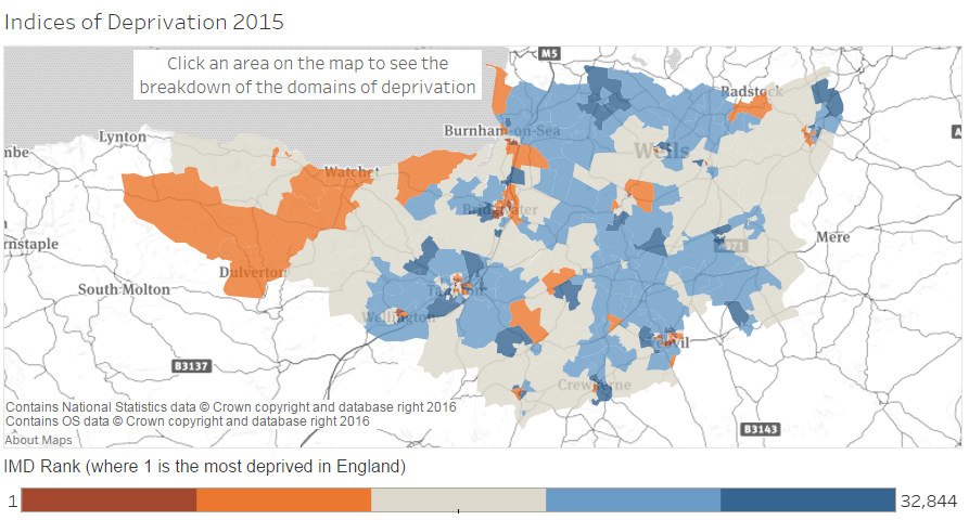 Map Of England 2015.Indices Of Deprivation 2015 Somerset Intelligence The Home Of