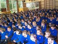 Schoolchildren in assembly