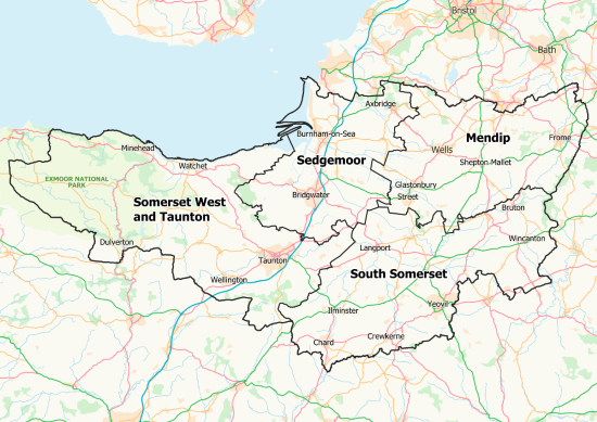 Map of Somerset Districts